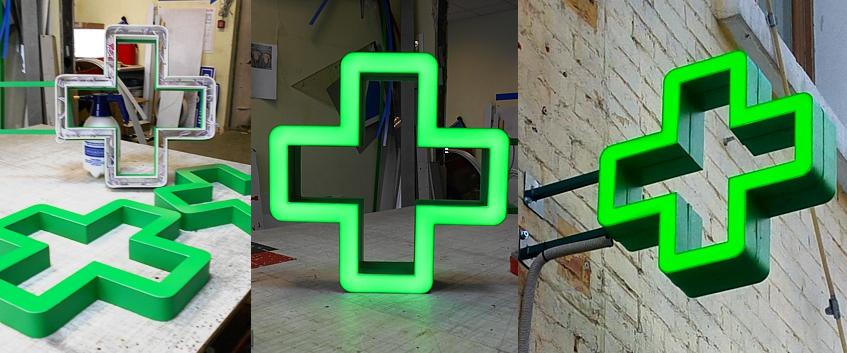 Аптечный контурный световой крест.