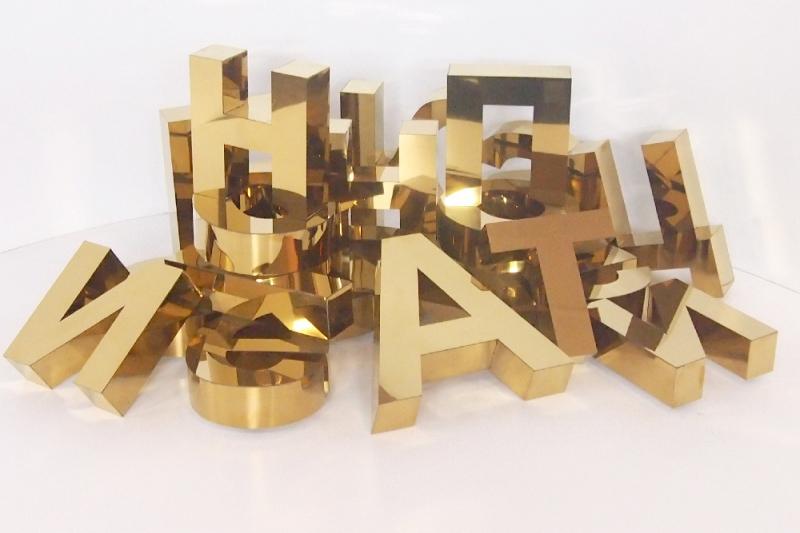 Буквы из нержавейки, золотой гляцец.